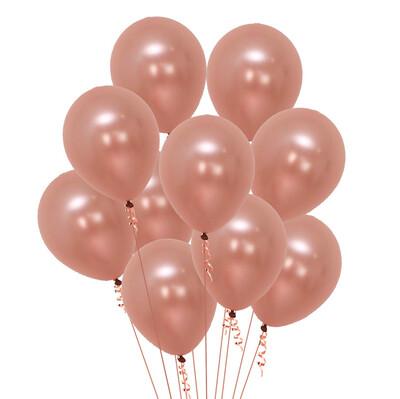 Diğer - Gül Kurusu Renkli Metalik Süsleme ve Parti Balonu 20li