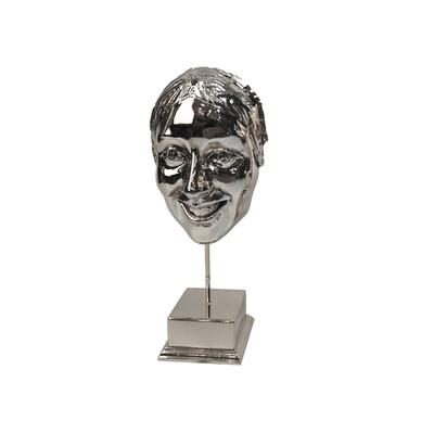 Diğer - Gülen Yüz Kaplama Dekoratif Biblo Gümüş
