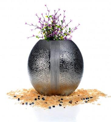 Ancel - Gümüş Yaldızlı ve Şeritli Seramik Yuvarlak Vazo 30cm