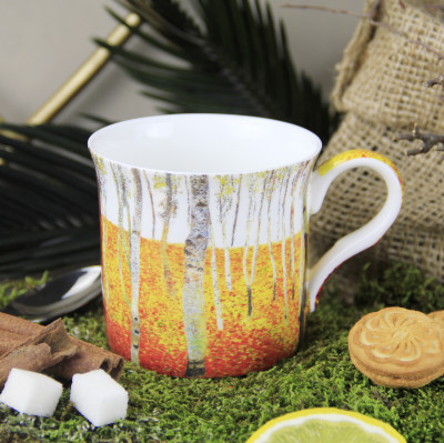 Diğer - Gustav Klimt Kayın Ormanı Çizimli New Bone China Kupa
