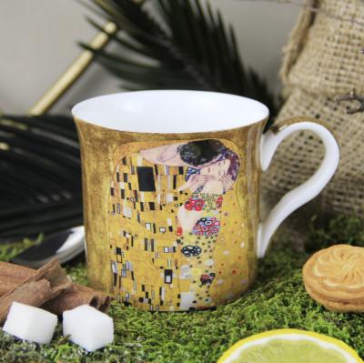 Diğer - Gustav Klimt Öpüş Çizimli New Bone China Kupa Sarı