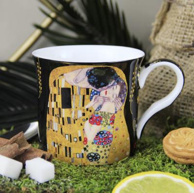 Diğer - Gustav Klimt Öpüş Çizimli New Bone China Kupa Siyah