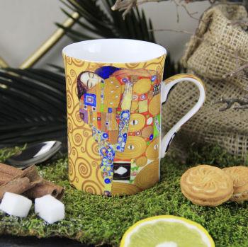 Gustav Klimt Stoclet Frieze Scorlet Frizi Çizimli New Bone China Kupa