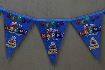 Happy Birthday Yazılı Doğum Günü Partisi Flama Bayrak Mavi