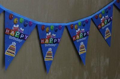 Happy Birthday Yazılı Doğum Günü Partisi Flama Bayrak Mavi - Thumbnail