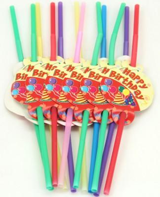 Diğer - Happy Birthday Yazılı Karışık Renkli Körüklü Pipet 12 Adet