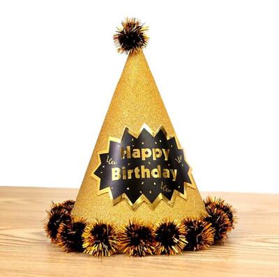 Diğer - Happy Birthday Yazılı Ponponlu Karton Parti Şapkası Gold