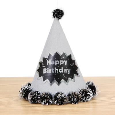 Diğer - Happy Birthday Yazılı Ponponlu Karton Parti Şapkası Gümüş