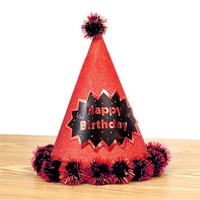 Diğer - Happy Birthday Yazılı Ponponlu Karton Parti Şapkası Kırmızı
