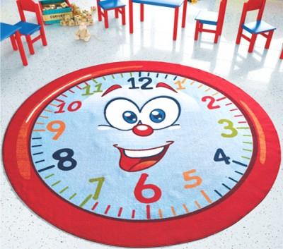 Confetti - Happy Hour Yuvarlak Saat Desenli Çocuk ve Bebek Odası Halısı 200cm