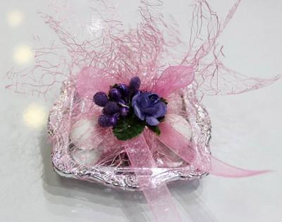 Diğer - Hazır Nikah ve Nişan Şekeri Çiçek Süslemeli Mini Kare Tepsi