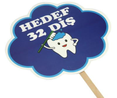 Diğer - Hedef 32 Diş Yazılı Çubuklu Konuşma Balonu Mavi