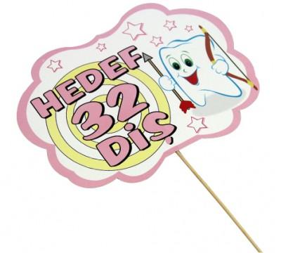 Diğer - Hedef 32 Diş Yazılı Çubuklu Konuşma Balonu Pembe