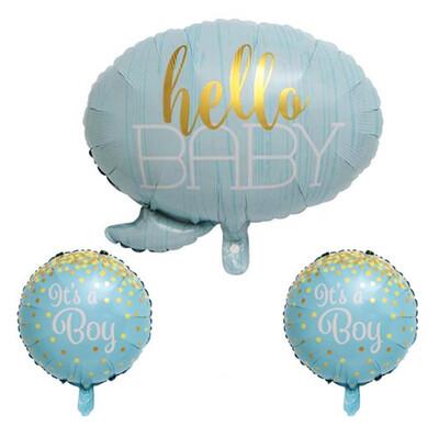 Diğer - Hello Baby İts A Boy Temalı Folyo Balon Seti Mavi