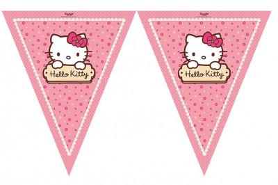 Diğer - Hello Kitty Baskılı Kız Çocuklar İçin Üçgen Flama Bayrak