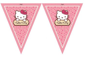 Hello Kitty Baskılı Kız Çocuklar İçin Üçgen Flama Bayrak