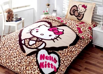 Diğer - Hello Kitty Leopar Desenli Pamuklu Nevresim Takımı Tek Kişilik