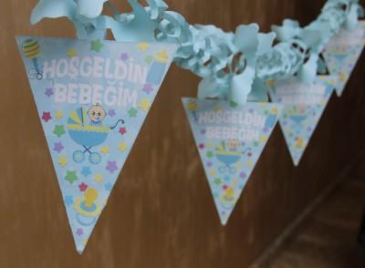 Diğer - Hoşgeldin Bebeğim Akordeon Duvar Süsleme Kağıdı Mavi