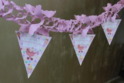 Diğer - Hoşgeldin Bebeğim Akordeon Parti Süsleme Kağıdı Pembe