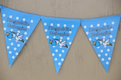 Diğer - Hoşgeldin Bebeğim Leylekli Üçgen Parti Süsleme Kağıdı Mavi