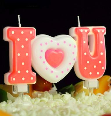Diğer - I Love You Puantiyeli Pasta Mumu Kırmızı