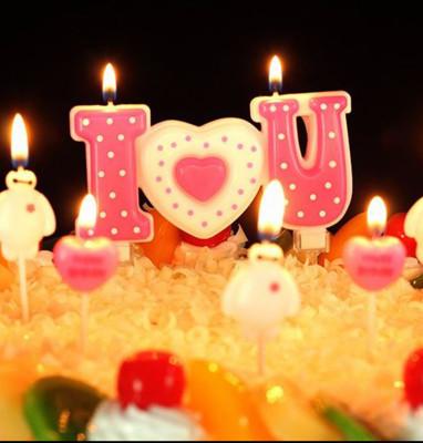 Diğer - I Love You Puantiyeli Pasta Mumu Pembe