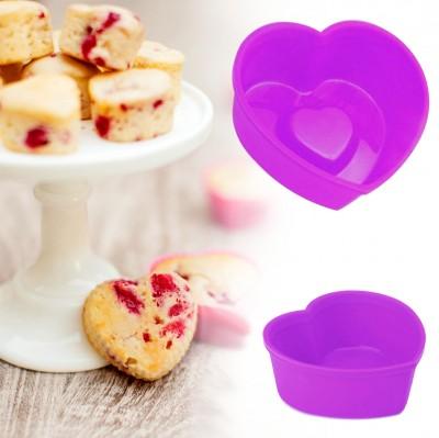 Joy Kitchen - İç İçe Kalp Desenli Silikon Mini Kek Kalıbı 6 Adet