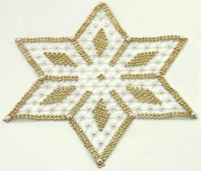 Diğer - İnci ve Taşlı Yıldız Şeklinde Kasnak İşi Sehpa Örtüsü Altın Sarısı 6 Parça