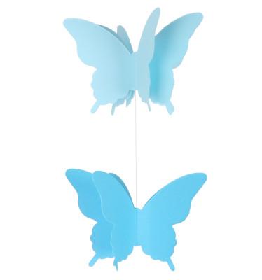 İpe Dizili Kağıt Kelebek Şeklinde Asma Süsler Mavi - Thumbnail