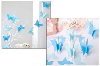 İpe Dizili Kağıt Kelebek Şeklinde Asma Süsler Mavi
