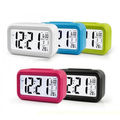 Diğer - Işıklı ve Termometreli Dekoratif Dijital Masa Saati Asorti