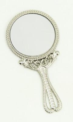 Diğer - İşlemeli Yuvarlak Mini El Aynası Gümüş