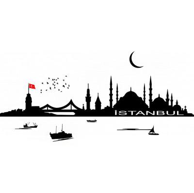 İstanbul Sabahı Duvar Sticker 100cm - Thumbnail