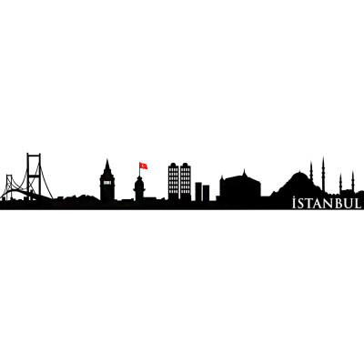 İstanbul Siluet Duvar Sticker 100cm - Thumbnail