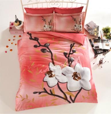 İyi Geceler İstanbul - İyi Geceler İstanbul 3D Orchids Üç Boyutlu Saten Çift Kişilik Nevresim Takımı Somon