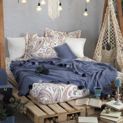 İyi Geceler İstanbul - İyi Geceler İstanbul Boho Chic Çift Kişilik Battaniye Seti Cobalt Mavi