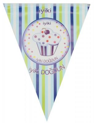 İyiki Doğdun Cupcake Baskılı Doğum Günü Partisi Flama Bayrak Mavi - Thumbnail