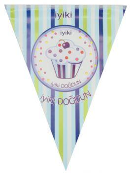 İyiki Doğdun Cupcake Baskılı Doğum Günü Partisi Flama Bayrak Mavi