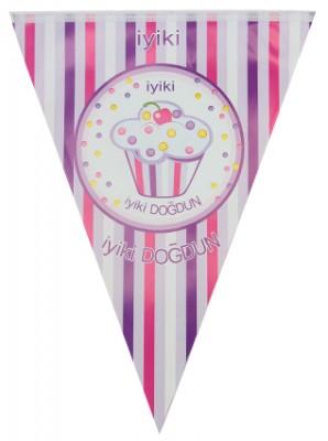 İyiki Doğdun Cupcake Baskılı Doğum Günü Partisi Flama Bayrak Pembe - Thumbnail