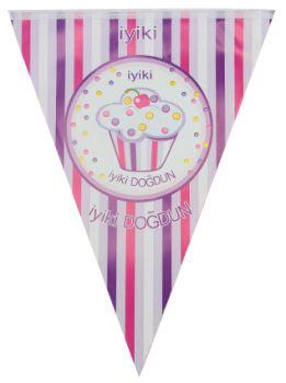 İyiki Doğdun Cupcake Baskılı Doğum Günü Partisi Flama Bayrak Pembe