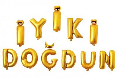 Diğer - İyiki Doğdun Set Altın Renkli Folyo Balon Harfler 40cm