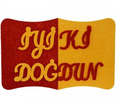 Diğer - İyiki Doğdun Yazılı Sarı Kırmızı Strafor Kapı Duvar Süsü