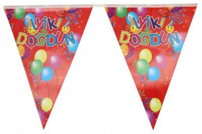 İyiki Doğdun Yazılı Üçgen Flama Parti Bayrağı - Thumbnail