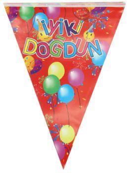 İyiki Doğdun Yazılı Üçgen Flama Parti Bayrağı