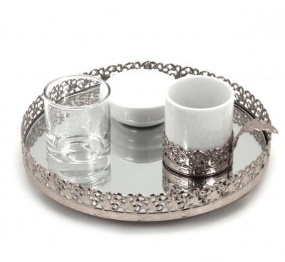 Diğer - Jardinyer Tepsili Damat Fincanı Seti Gümüş