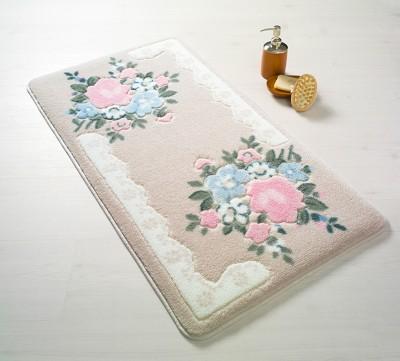 Confetti - June Çiçekli Oymalı Banyo Halısı Pembe 80x140cm