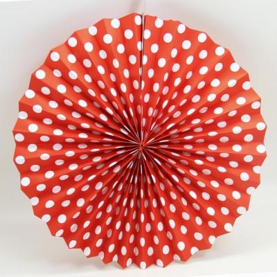 Diğer - Kağıt Asma Puantiyeli Çark Süs 40cm Kırmızı