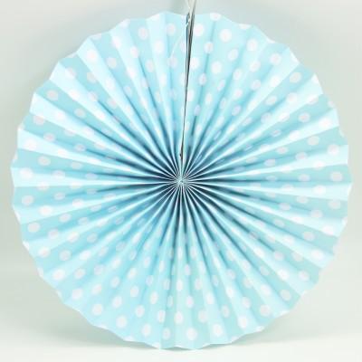 Diğer - Kağıt Asma Puantiyeli Çark Süs 40cm Mavi
