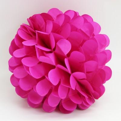Diğer - Kağıt Top Petek Çiçek Süs 25cm Fuşya