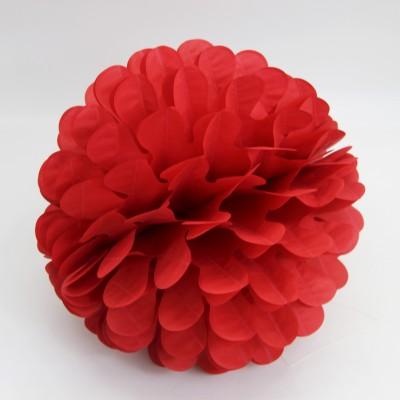 Diğer - Kağıt Top Petek Çiçek Süs 30cm Kırmızı